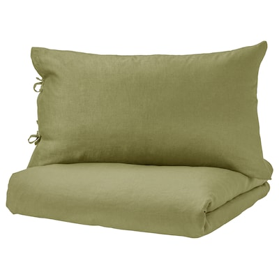 PUDERVIVA Quilt cover and pillowcase, light olive-green, 150x200/50x80 cm