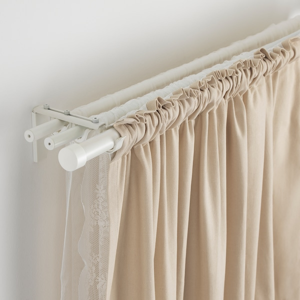 RÄCKA / HUGAD Triple curtain rod combination, white, 120-210 cm
