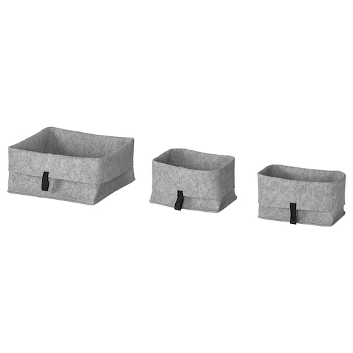 RAGGISAR basket, set of 3 grey