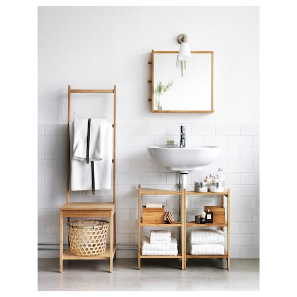 Wash Basin Corner Shelf Bamboo
