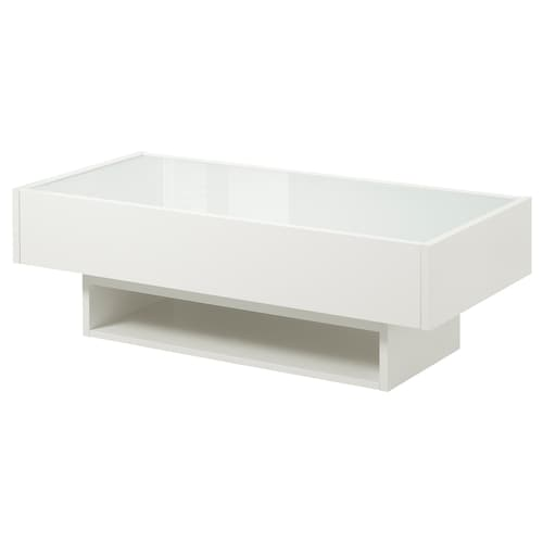 RAMVIK Coffee table, white/glass, 120x58 cm