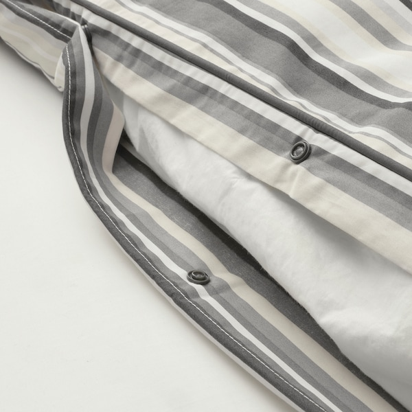 RANDGRÄS quilt cover and pillowcase grey/stripe 200 /inch² 1 pack 200 cm 150 cm 50 cm 80 cm