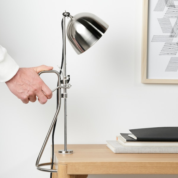 RÅVAROR Clamp table lamp, stainless steel