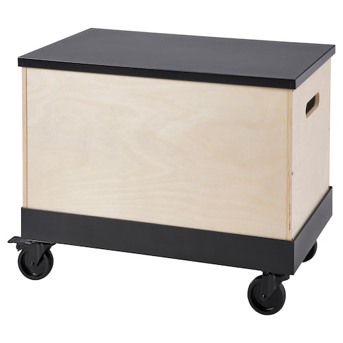 RÅVAROR Coffee/side table on castors, birch plywood/black, 57x34 cm