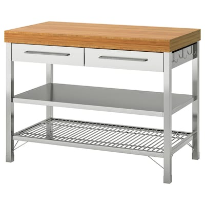 RIMFORSA Work bench, stainless steel/bamboo, 120x63.5x92 cm