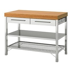 RIMFORSA work bench, stainless steel, bamboo