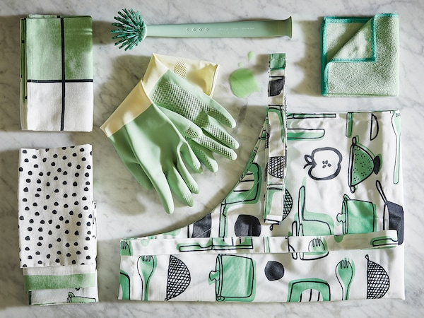 RINNIG Apron, white/green/patterned