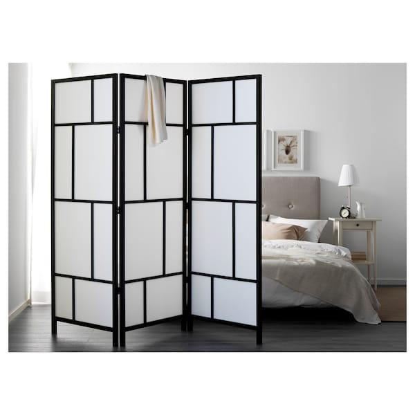 RISÖR Room divider, white/black, 216x185 cm