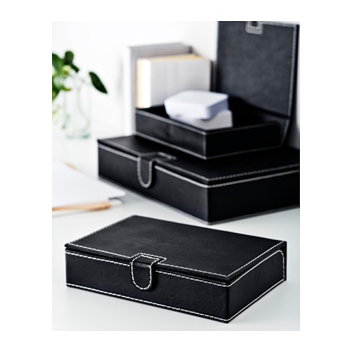 RISSLA Box file, set of 3 IKEA Perfect for storing documents, receipts, newspaper clippings and pictures.