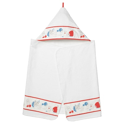 RÖDHAKE Baby towel with hood, rabbits/blueberries pattern, 60x125 cm