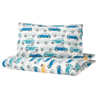 RÖRANDE Quilt cover/pillowcase for cot, cars/blue, 110x125/35x55 cm