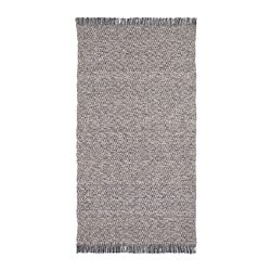 RÖRKÄR rug, flatwoven, black/natural dark blue, natural