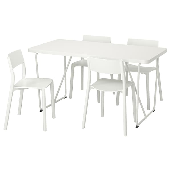 RYDEBÄCK/BACKARYD / JANINGE table and 4 chairs white/white 150 cm 78 cm 75 cm