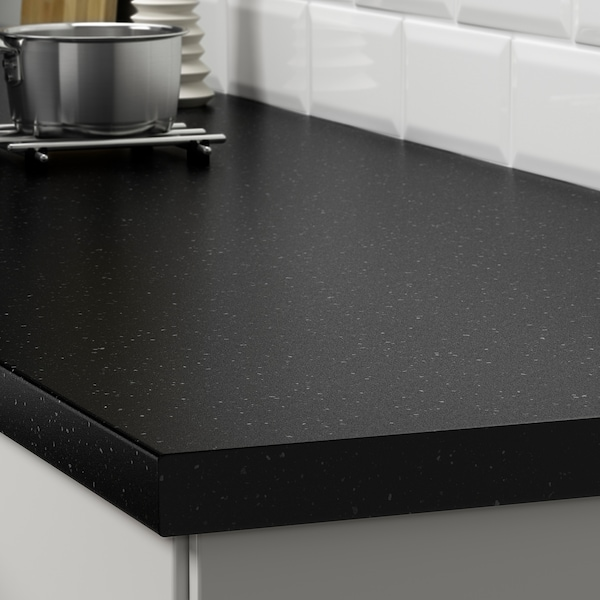 SÄLJAN worktop black mineral effect/laminate 246 cm 63.5 cm 3.8 cm