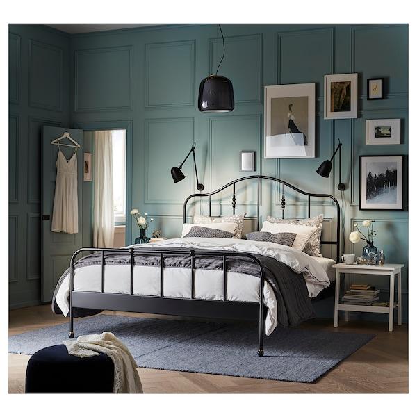 SAGSTUA Bed frame, black/Luröy, 180x200 cm