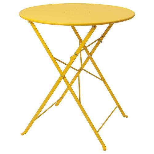 SALTHOLMEN Table, outdoor, foldable/yellow, 65 cm