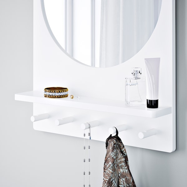 SALTRÖD Mirror with shelf and hooks, white, 50x68 cm