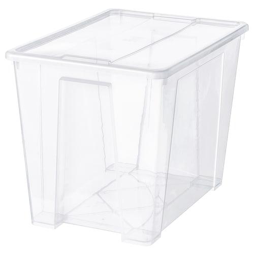 SAMLA box with lid transparent 57 cm 39 cm 42 cm 65 l