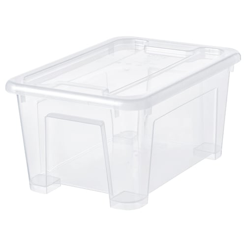 SAMLA box with lid transparent 28 cm 20 cm 14 cm 5 l
