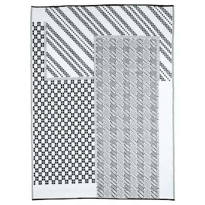 SAMMANKOPPLA Rug, flatwoven, black/white, 180x240 cm