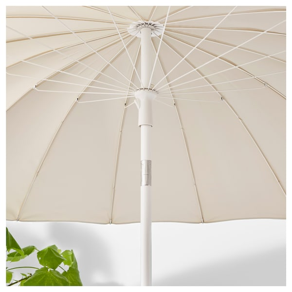 SAMSÖ parasol with base beige/Grytö dark grey 200 cm 32 mm 169 cm 234 cm