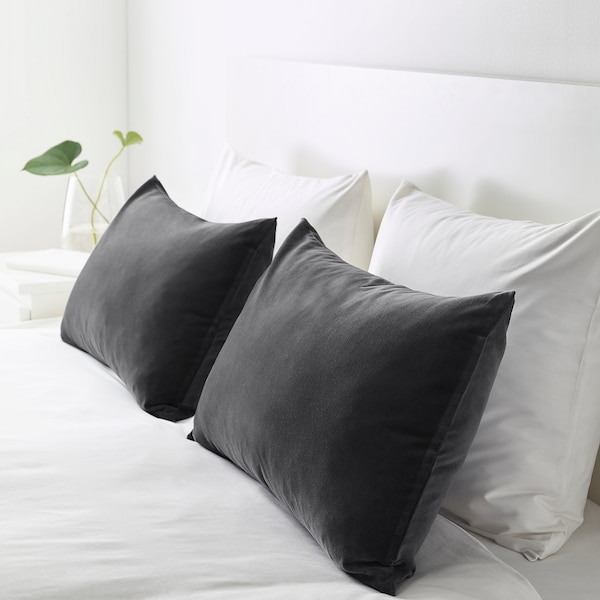 SANELA cushion cover dark grey 40 cm 65 cm