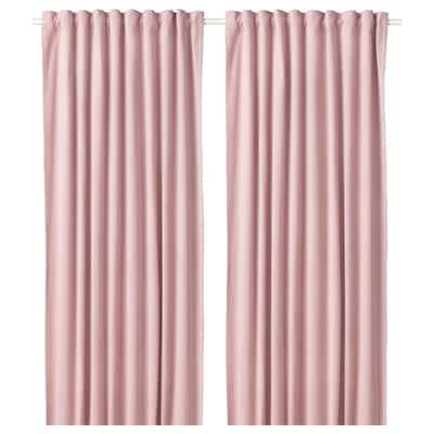 SANELA Room darkening curtains, 1 pair, light pink, 140x250 cm