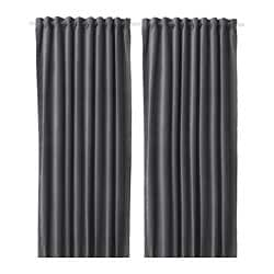 SANELA room darkening curtains, 1 pair, dark grey