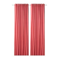 SANELA room darkening curtains, 1 pair, light brown-red