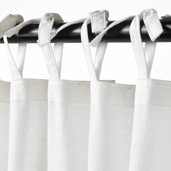 SÅNGLÄRKA Curtains with tie-backs, 1 pair, butterfly/white blue, 120x250 cm