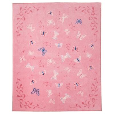 SÅNGLÄRKA Rug, low pile, butterfly/pink, 133x160 cm