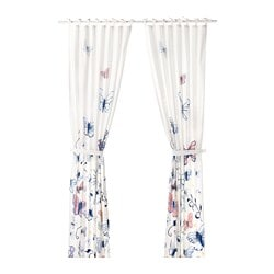 SÅNGLÄRKA curtains with tie-backs, 1 pair, butterfly, white blue