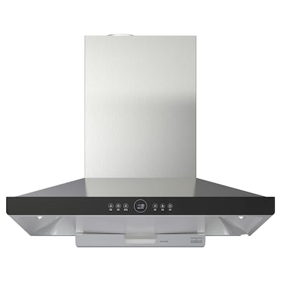 SANSLÖS CXW-230-TT9052-SR Wall mounted extractor hood, stainless steel/black glass