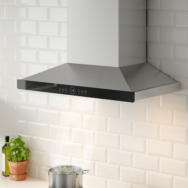 SANSLÖS CXW-230-TT9052-SR wall mounted extractor hood stainless steel/black glass 108.2 cm 76.2 cm 89.6 cm 52.9 cm 1.0 m 31.00 kg 40.3 cm 31.3 cm