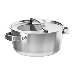 SENSUELL pot with lid, stainless steel, grey