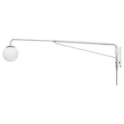 SIMRISHAMN Wall lamp with swing arm, chrome-plated/opal white glass