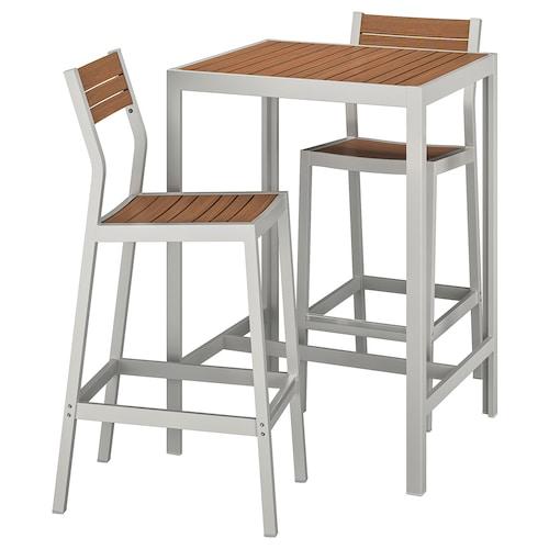 SJÄLLAND bar table and 2 bar stools, outdoor light brown/light grey 71 cm 71 cm 103 cm