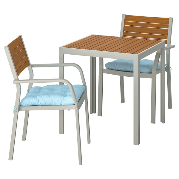 SJÄLLAND table+2 chairs w armrests, outdoor light brown/Kuddarna light blue 71 cm 71 cm 73 cm