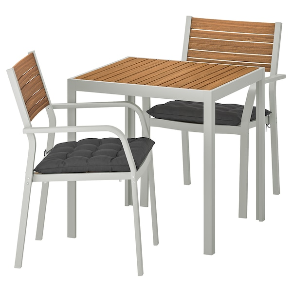 SJÄLLAND table+2 chairs w armrests, outdoor light brown/Hållö black 71 cm 71 cm 73 cm