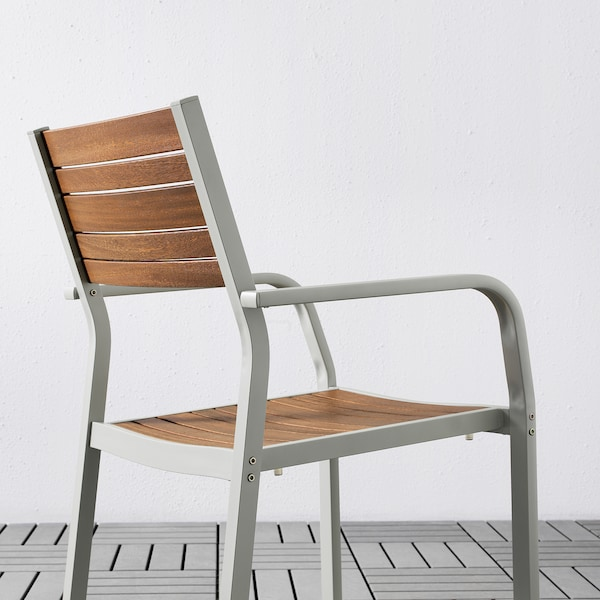 SJÄLLAND table+2 chairs w armrests, outdoor light brown/Kuddarna beige 71 cm 71 cm 73 cm