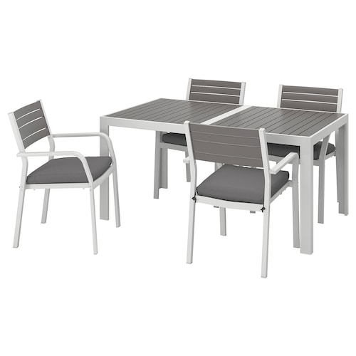 SJÄLLAND table+4 chairs w armrests, outdoor dark grey/Frösön/Duvholmen dark grey 156 cm 90 cm 73 cm