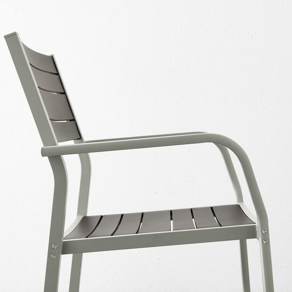 SJÄLLAND table+4 chairs w armrests, outdoor glass/Hållö black 156 cm 90 cm 73 cm