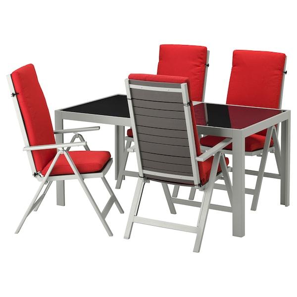 SJÄLLAND table+4 reclining chairs, outdoor glass/Frösön/Duvholmen red 156 cm 90 cm 73 cm