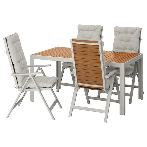 SJÄLLAND table+4 reclining chairs, outdoor light brown/Kuddarna grey 156 cm 90 cm 73 cm