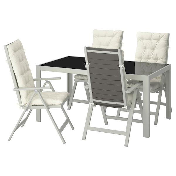 SJÄLLAND table+4 reclining chairs, outdoor glass/Kuddarna beige 156 cm 90 cm 73 cm