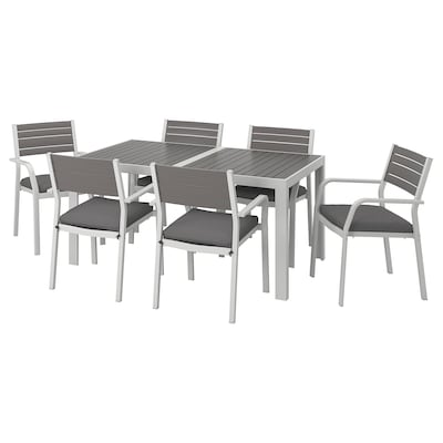 SJÄLLAND Table+6 chairs w armrests, outdoor, dark grey/Frösön/Duvholmen dark grey, 156x90 cm