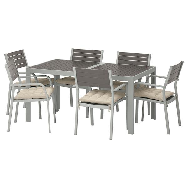 SJÄLLAND Table+6 chairs w armrests, outdoor, dark grey/Hållö beige, 156x90 cm