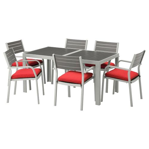 IKEA SJÄLLAND Table+6 chairs w armrests, outdoor