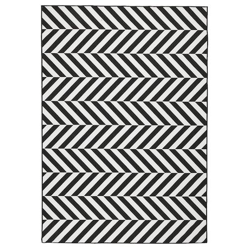 SKARRILD Rug flatwoven, in/outdoor, white/black, 160x230 cm