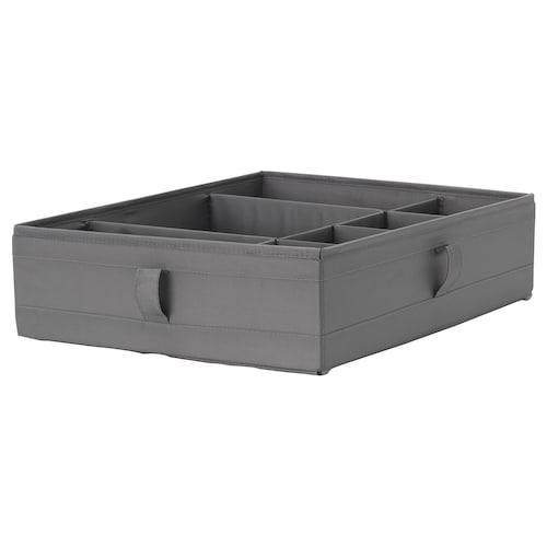 SKUBB Box with compartments, dark grey, 44x34x11 cm